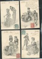 Ensemble 5 Cpa ( Série Flirt ) Signée Carl JOZSA -   ART NOUVEAU  ( 4 Scans )    Mbb21 - Illustrateurs & Photographes