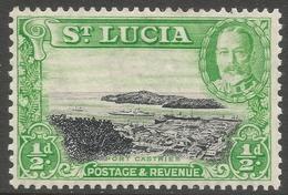 St Lucia. 1936 KGV. ½d MH. P13 X 12 SG 113a - St.Lucia (...-1978)