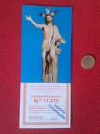 SPAIN PARTICIPACIÓN DE LOTERÍA NACIONAL NATIONAL LOTTERY LOTERIE NATIONALE RELIGIÓN CHRIST CRISTO JESÚS JEREZ MOTO DERBI - Billets De Loterie