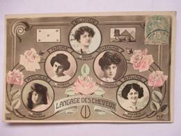 LE LANGAGE DES   CHEVEUX  -  5 FEMMES DANS DES MEDAILLONS                  TTB - Postcards