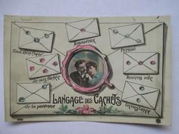 LE LANGAGE DES   CACHETS      - COUPLE DANS UN MEDAILLON                    TTB - Postcards