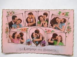 LE LANGAGE DES   BAISERS      -  7 COUPLES  DANS DES MEDAILLONS  AVEC BRILLANTS                       TTB - Postcards