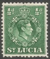 St Lucia. 1938-48 KGVI. ½d MH. P12½ SG 128a - St.Lucia (...-1978)
