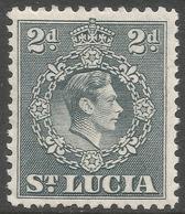 St Lucia. 1938-48 KGVI. 2d MH. P12½ SG 131a - St.Lucia (...-1978)