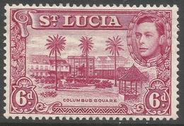 St Lucia. 1938-48 KGVI. 6d MH. P13½ SG 134a - St.Lucia (...-1978)
