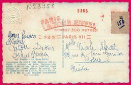 """Cp - TOUR EIFFEL - E.M.A. Rouge """"Paris Tour Eiffel Sommet 300 Mètres"""" Machine 5366 - 26 XII 55 - Tampon Sec - Flamme - Marcophilie (Lettres)"""