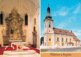 1 AK Tschechien * 2 Ansichten Der Kirche In Milotice (deutsch Milotitz) - Erbaut 1697 Bis 1701 * - Tchéquie