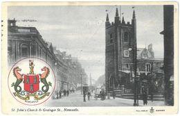 CPA NEWCASTLE - St. John's Church & Grainger St. - Year 1906 - Newcastle-upon-Tyne