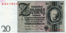 Billet Allemand De 20 Mark Du 22-1- 1929- Ornement De Filigrane(de Ligne De Flottaison)-(1945)-A. N°04379550 - En T B - - [ 3] 1918-1933: Weimarrepubliek