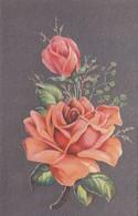 Cpa 2 Scans Fleurs Roses Sur Fond Uni Gris édition De Qualité  éditions R . J. BRUXELLES - Fleurs