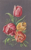Cpa 2 Scans Fleurs Tulipes Sur Fond Uni Gris édition De Qualité  éditions R . J. BRUXELLES - Fleurs