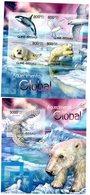 GUINEE BISSAU 2012 / Superbe Série 4 Valeurs Se Tenant + Blocs Dentelés MNH - Préservation Des Régions Polaires & Glaciers