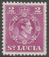 St Lucia. 1949-50 KGVI. 2c MH. P12½ SG 147 - St.Lucia (...-1978)