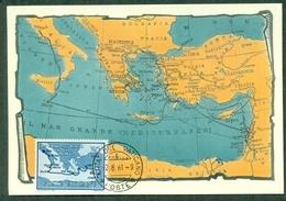 CM-Carte Maximum Card # 1961-Vatican #Religion #Geography # Arrivée (arrival,Ankunft) De San Paulus à Rome # Carte,map. - Cartes-Maximum (CM)