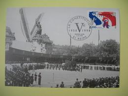 Carte 1998  Exposition Média Sénat  N° 3195 - Cachet Reims  La Constitution De La V è République - Expositions