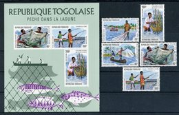 "TOGO  1974  MNH  -  "" PECHE DANS LA LAGUNE/ FISHING ""  -  5 VAL. + 1 BLOC - Togo (1960-...)"