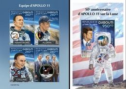 Djibouti 2019, Space, Apollo 11, 4val+BF - Djibouti (1977-...)