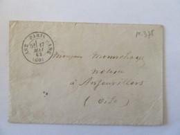 Enveloppe Paris Vers Ansauvillers - Cachet De Départ Type 17 Et D'arrivée Type 22 - Sans Timbre - 1862 - 1849-1876: Classic Period