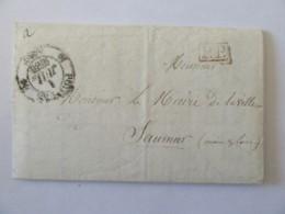 Lettre Poitiers Vers Saumur - Cachet Type 12 + PP Port Payé + Cachet Mairie Poitiers - 1836 - Marcophilie (Lettres)