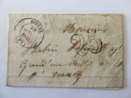 Lettre Dieuze Vers Nancy - Cachet Type 14 + Chiffre-taxe 25 - 1853 - Marcophilie (Lettres)