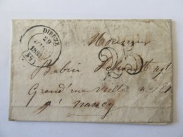 Lettre Dieuze Vers Nancy - Cachet Type 14 + Chiffre-taxe 25 - 1853 - 1849-1876: Classic Period