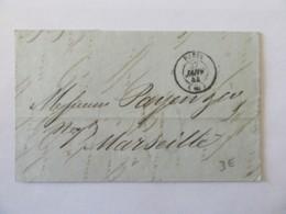 Lettre Paris Vers Marseille - Cachet à Date Paris Noir + Type 13 Au Verso - Janvier 1844 - Marcophilie (Lettres)