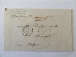 Enveloppe Du Procureur Impérial De Valenciennes Vers Belgique - Franchise Service Public (F.S.P) + Cachets - Avril 1866 - 1849-1876: Classic Period