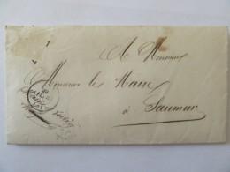 Lettre Auch Vers Saumur - Cachets à Date Et Cachet Mairie D'Auch - Février 1850 - Timbre Manquant - Marcophilie (Lettres)
