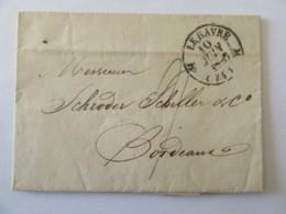 Lettre Le Havre Vers Bordeaux - Cachet Type 12 Et 13 + Chiffre-taxe Manuscrit - 1833 - Postmark Collection (Covers)