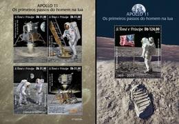 S. Tomè 2019, Space, Apollo 11, 4val+BF - Sao Tome Et Principe