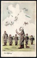 C3689 - Trautloft Litho Flieger Humor Scherzkarte - Horn - Humor