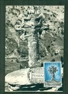 CM-Carte Maximum Card #1974-Andorre-Spanish-Andorra # Art -Sculpture # Europa-CEPT # Croix ,cross,Kreuz (1 MC) - Cartes-Maximum (CM)
