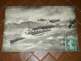 CPA 50 - CHERBOURG - Escadrille De Torpilleurs En Manoeuvre Dans La Manche Ralliant Le Port Par Gros Temps - Guerre