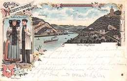 WESERSTRANDE~PORTA WESTFALICA-WESTFALISCHE BAUERNTRACHT~MAX HOLLE 1897 POSTCARD 39701 - Germany