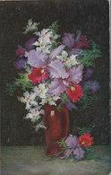 Cpa 2 Scans Gaufrée Effet Granuleux Imitation Peinture A L'huile Bouquet De Fleurs Et Son Vase - Fleurs