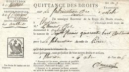 Flavion : Quittance Des Droits Sur La Fabrication De La Bière 1806 - Documenti Storici