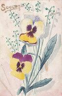 Cpa 2 Scans Aquarellée Peinte A La Main Fleurs Pensées Souvenir 1913 - Fleurs