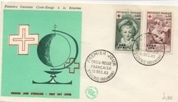 REUNION 1962 Croix-Rouge Soprast. CFA  Yv. 353/54 - Mi. 421/22 Serie Cpl. 2v. Su Busta FDC - Isola Di Rèunion (1852-1975)