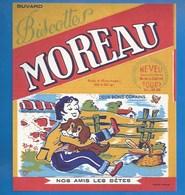 37 - TOURS, 14 RUE DE COURSET - BUVARD ILLUSTRÉ- BISCOTTES MOREAU - NOS AMI(E)S LES BÊTES - DEUX BONS COPAINS - CHIEN - Biscottes