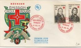 REUNION 1964 Croix-Rouge Soprast. CFA  Yv. 362/63 - Mi. 436/37 Serie Cpl. 2v. Su Busta FDC - Isola Di Rèunion (1852-1975)