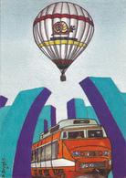 Cp-aviation-montgolfiere TGV--illustrateur Daniel Bruges-tirage 300 Exemplaires - Montgolfières