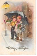 Illustrator - Hannes Petersen - Children With Umbrella, Kinder Mit Regenschirm, Enfants Avec Parapluie - Petersen, Hannes