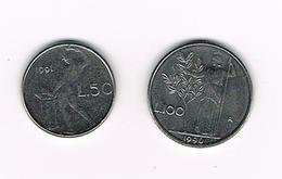 /  ITALIE  50 En 100  LIRE  1991/1990  REDUCED  SIZE - 1946-… : République