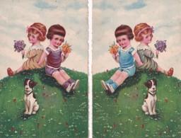 2 CARTES    CHIEN ET ENFANTS - Chiens
