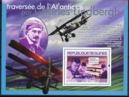 [402013]Guinée 2007 - Traversée De L'Atlantique Par Charles Lindbergh, Avions, Roland Garros, Orville Et Wilbur Wright - Célébrités
