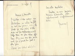 GENERAL GOURAUD Autographe Lettre 1917 ( Condoléances à Un Ministre ) - Autogramme & Autographen