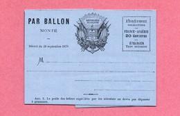 D-FR MONTGOLFIERE Envoi Par Ballon Monté Décret Du 26 Septembre 1870 Papier Bleu Petit Format - Documents Historiques