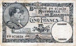 Billet Belge - De 5 Francs Le 29-04-1931 - - [ 6] Treasury