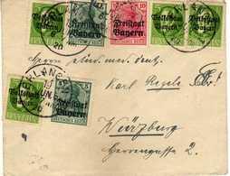 "Germany - German States > Bavaria. Erlangen Letter -1920.MIX STAMPS - Overprinted/""Freistaat Bayern/""Volksstadt Bayern"" - Bavaria"