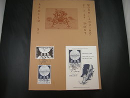 """BELG.1969 1508 & 1509 (BL46) FDC Philacard : """" First Man On The Moon """" - 1961-70"""